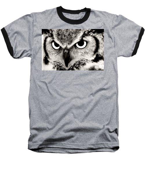 Great Horned Owl In Black And White Baseball T-Shirt