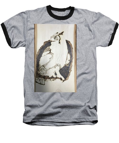Baseball T-Shirt featuring the digital art Great Horned Owl by Terry Frederick