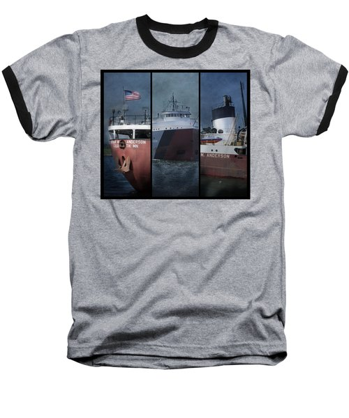 Great Lakes Freighter Triptych Arthur M Anderson Baseball T-Shirt