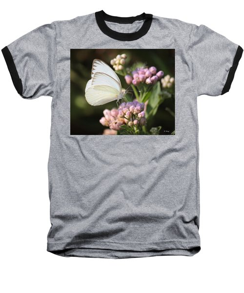 Great Southern White Butterfly On Pink Flowers Baseball T-Shirt
