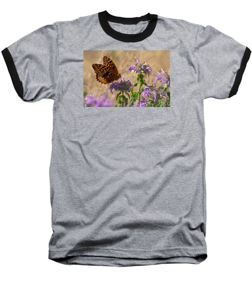 Great Spangled On Bee Balm Baseball T-Shirt by Shelly Gunderson