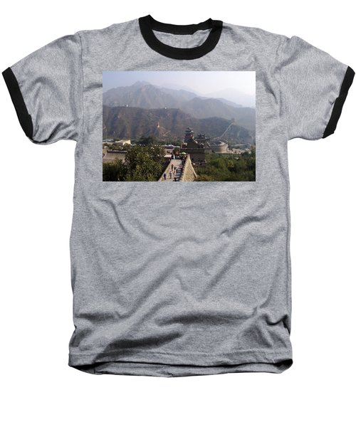 Great Wall Of China At Badaling Baseball T-Shirt by Debbie Oppermann