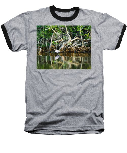 Great White Egret And Reflection In Swamp Mangroves Baseball T-Shirt