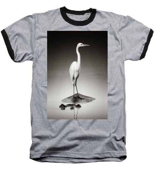 Great White Egret On Hippo Baseball T-Shirt