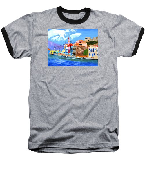 Baseball T-Shirt featuring the painting Greek Coast by Magdalena Frohnsdorff