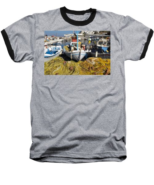 Greek Fishing Harbour Baseball T-Shirt