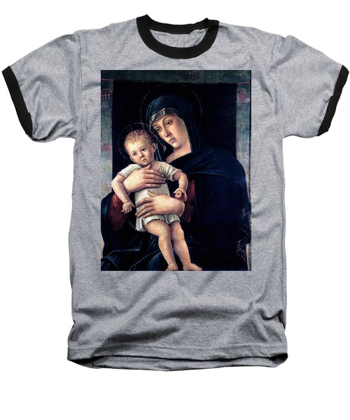 Baseball T-Shirt featuring the painting Greek Madonna With Child 1464 Giovanni Bellini by Karon Melillo DeVega