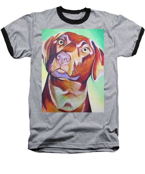 Baseball T-Shirt featuring the painting Green And Brown Dog by Joshua Morton