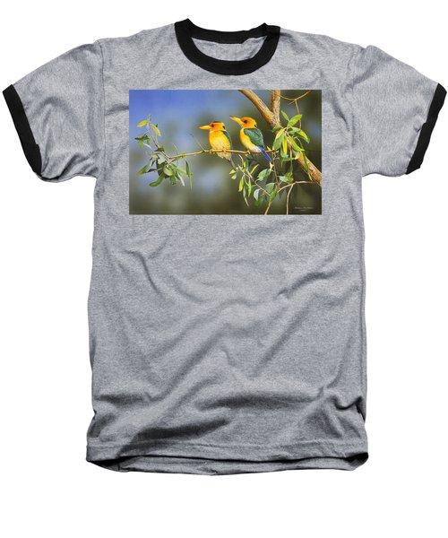 Green And Gold - Yellow-billed Kingfishers Baseball T-Shirt
