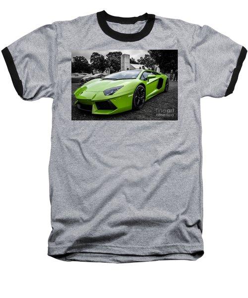 Green Aventador Baseball T-Shirt by Matt Malloy