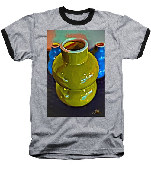 Baseball T-Shirt featuring the painting Green  Blue Vases by Joan Reese
