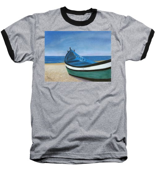 Baseball T-Shirt featuring the painting Green Boat Blue Skies by Arlene Crafton