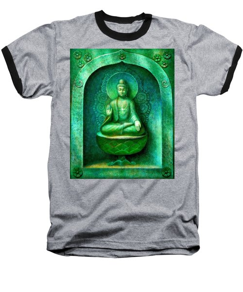 Green Buddha Baseball T-Shirt by Sue Halstenberg
