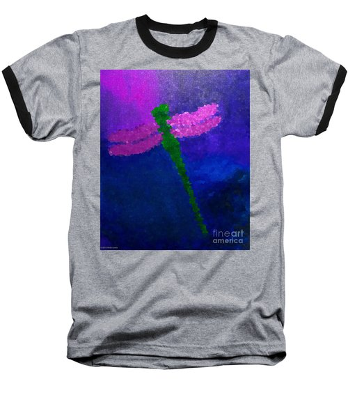 Baseball T-Shirt featuring the painting Green Dragonfly by Anita Lewis
