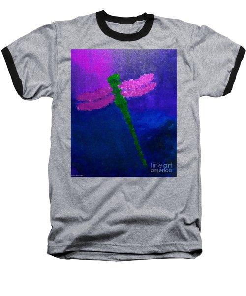 Green Dragonfly Baseball T-Shirt by Anita Lewis