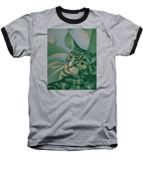 Baseball T-Shirt featuring the painting Green Feline Geometry by Pamela Clements