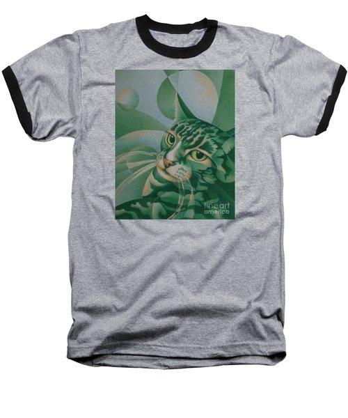 Green Feline Geometry Baseball T-Shirt