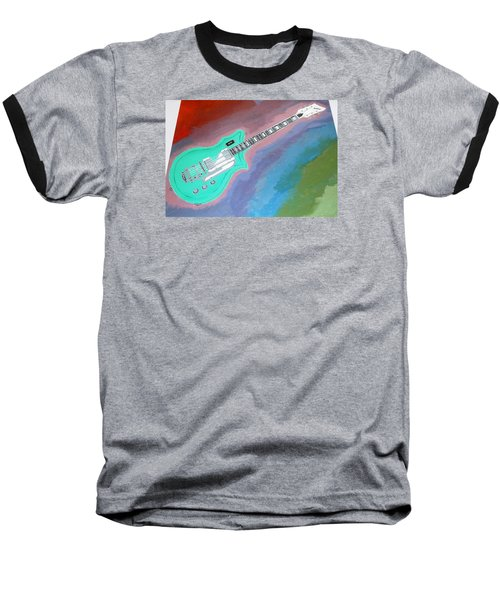 Baseball T-Shirt featuring the painting Green Guitar by Magdalena Frohnsdorff
