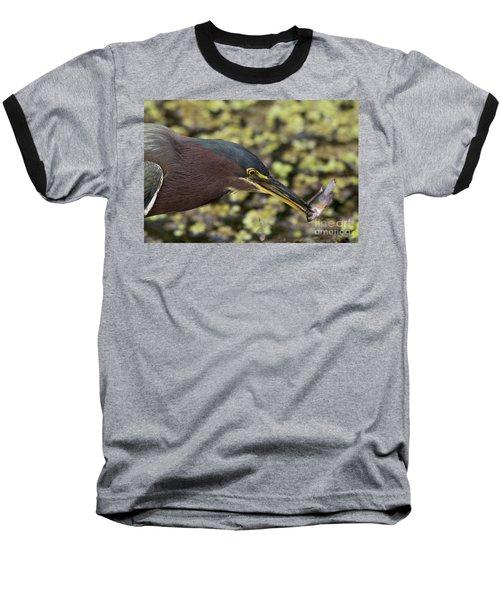 Green Heron Fishing Baseball T-Shirt