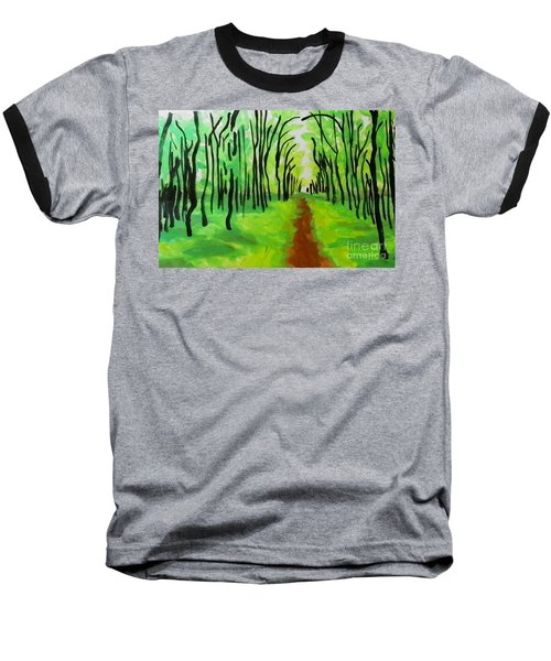 Baseball T-Shirt featuring the painting Green Leaves by Marisela Mungia