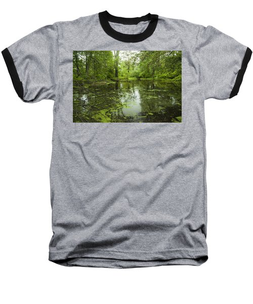 Green Blossoms On Pond Baseball T-Shirt by Jerry Cowart