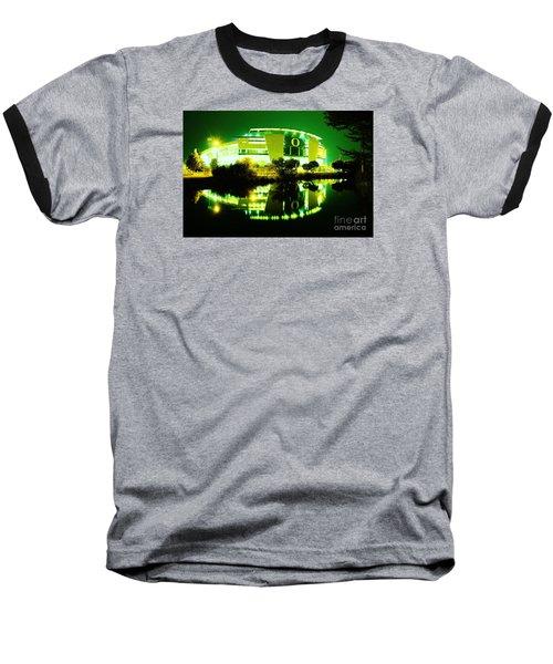 Green Power- Autzen At Night Baseball T-Shirt by Michael Cross