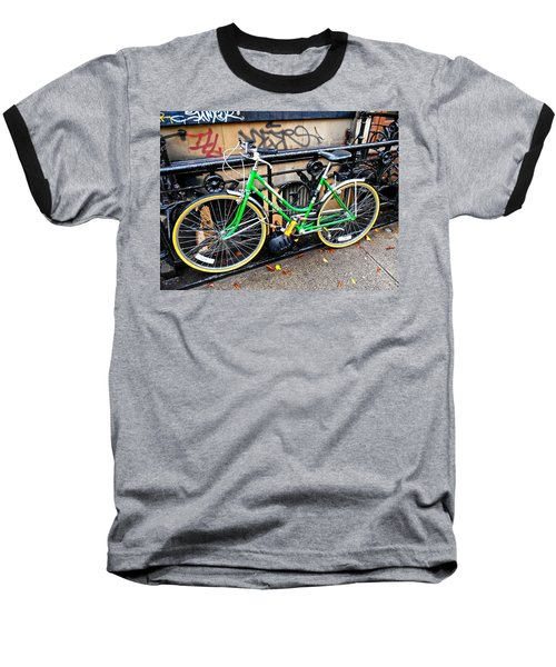 Green Schwinn Bike  Nyc Baseball T-Shirt by Joan Reese