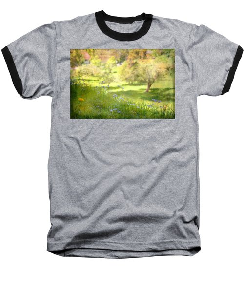 Baseball T-Shirt featuring the photograph Green Spring Meadow With Flowers by Brooke T Ryan