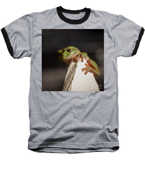Green Tree Frog Keeping An Eye On You Baseball T-Shirt