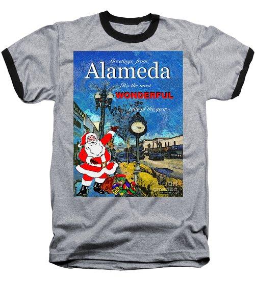 Alameda Christmas Greeting Baseball T-Shirt