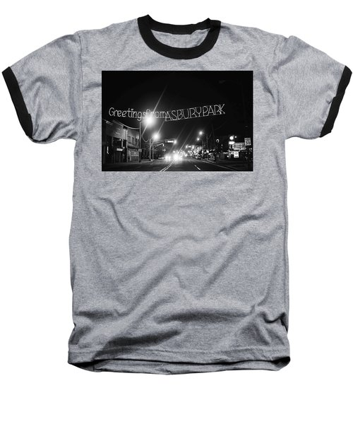 Greetings From Asbury Park New Jersey Black And White Baseball T-Shirt