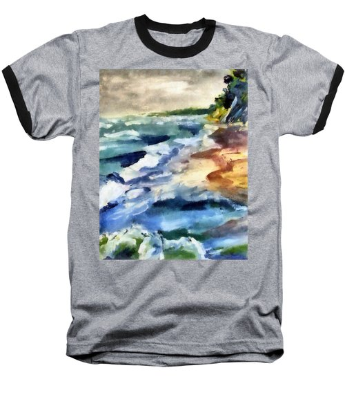 Grey Sky Day On The Lake Baseball T-Shirt