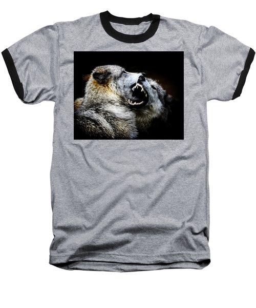 Grey Wolf Fight Baseball T-Shirt by Steve McKinzie
