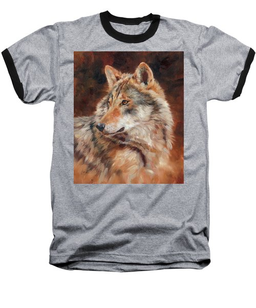 Grey Wolf Portrait Baseball T-Shirt