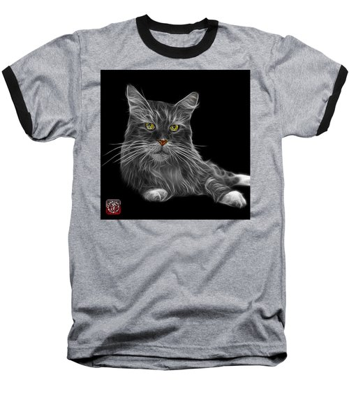 Greyscale Maine Coon Cat - 3926 - Bb Baseball T-Shirt by James Ahn