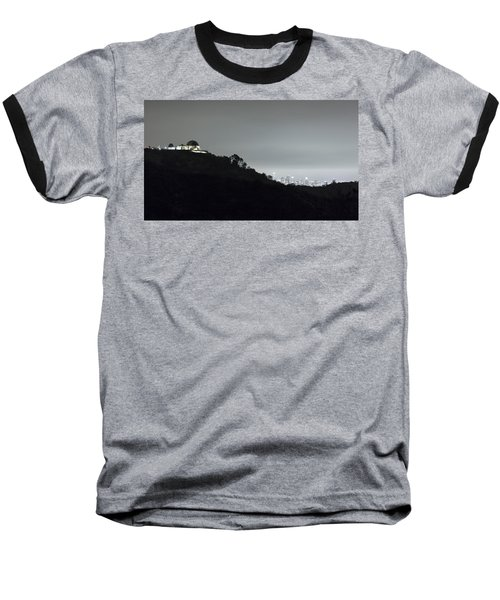 Griffith Park Observatory And Los Angeles Skyline At Night Baseball T-Shirt