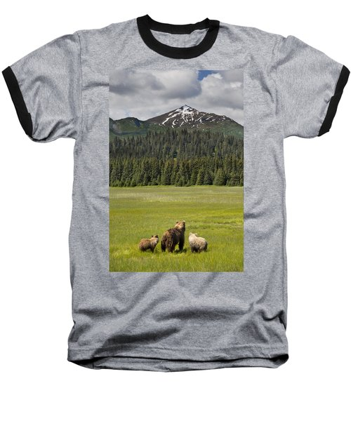 Grizzly Bear Mother And Cubs In Meadow Baseball T-Shirt