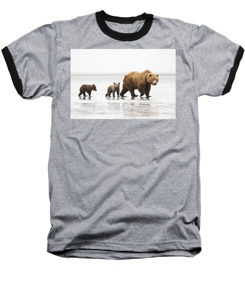 Grizzly Bear Mother And Cubs Lake Clark Baseball T-Shirt