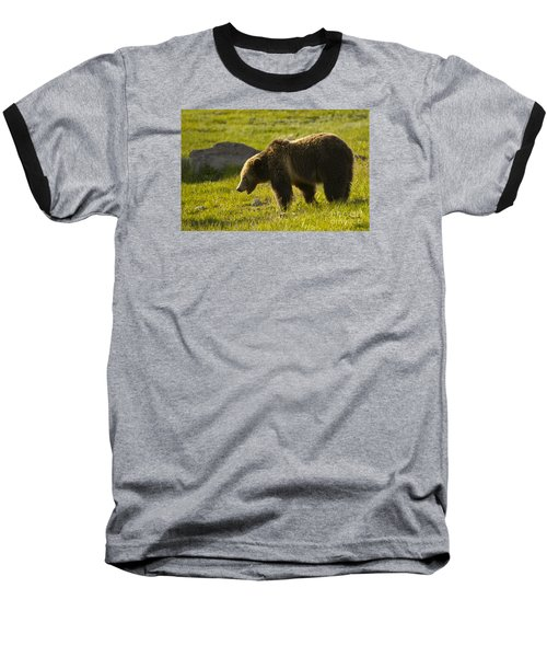 Grizzly Bear-signed-#4535 Baseball T-Shirt by J L Woody Wooden