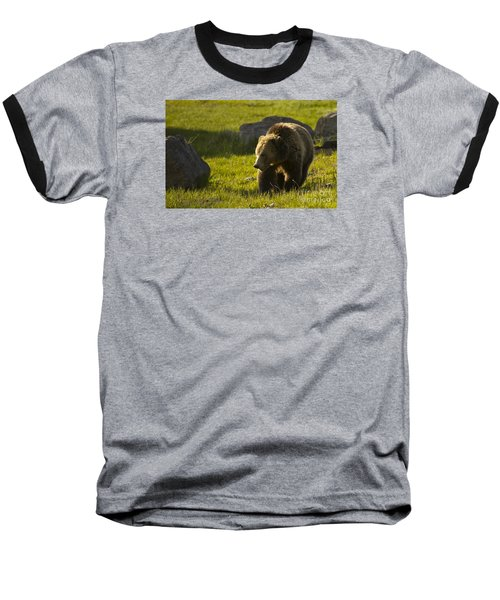 Grizzly Bear-signed-#4545 Baseball T-Shirt by J L Woody Wooden
