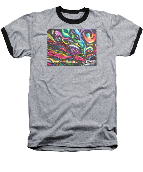 Baseball T-Shirt featuring the painting Groovy Series Titled Thoughts by Chrisann Ellis