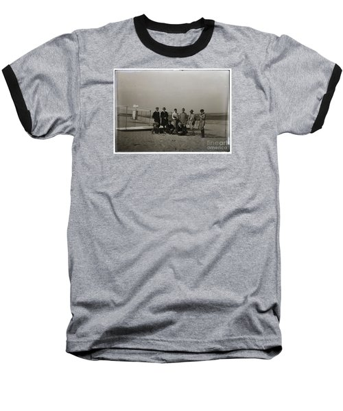 The Wright Brothers Group Portrait In Front Of Glider At Kill Devil Hill Baseball T-Shirt by R Muirhead Art