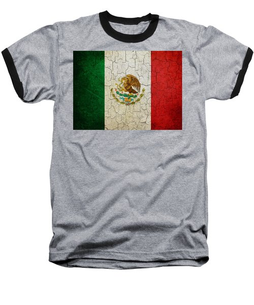 Grunge Mexico Flag Baseball T-Shirt