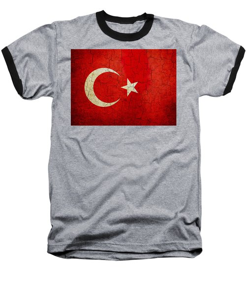 Grunge Turkey Flag Baseball T-Shirt