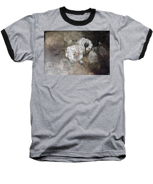 Grunge White Rose Baseball T-Shirt