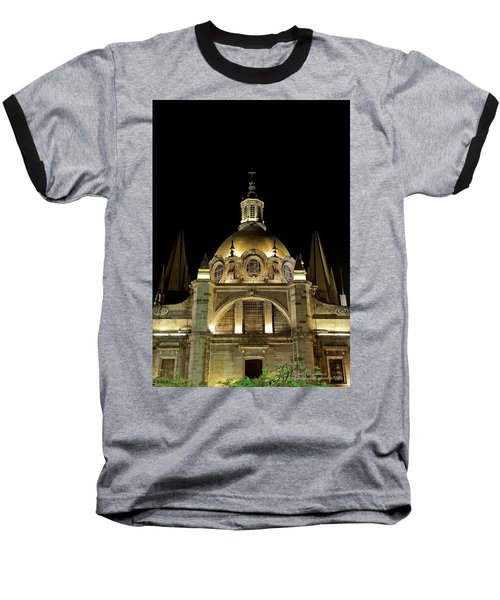 Baseball T-Shirt featuring the photograph Guadalajara Cathedral At Night by David Perry Lawrence