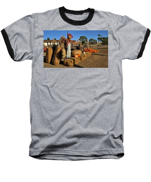 Baseball T-Shirt featuring the photograph Guarding The Pumpkin Patch by Michael Gordon