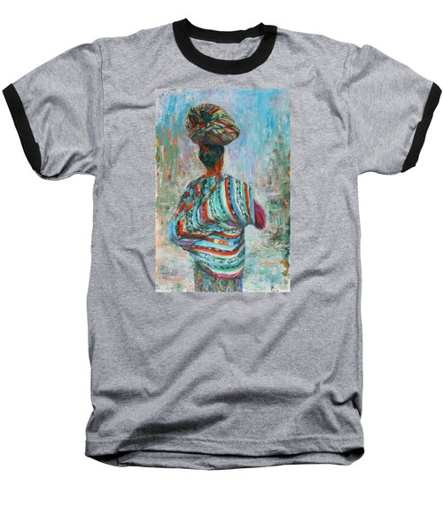 Baseball T-Shirt featuring the painting Guatemala Impression I by Xueling Zou