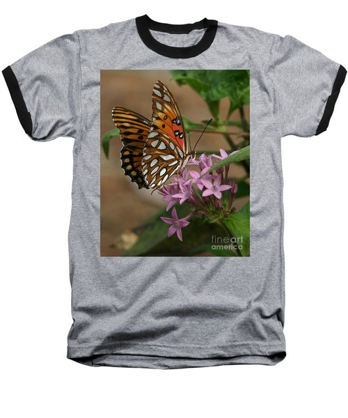Gulf Fritillary Butterfly Baseball T-Shirt by Liz Masoner