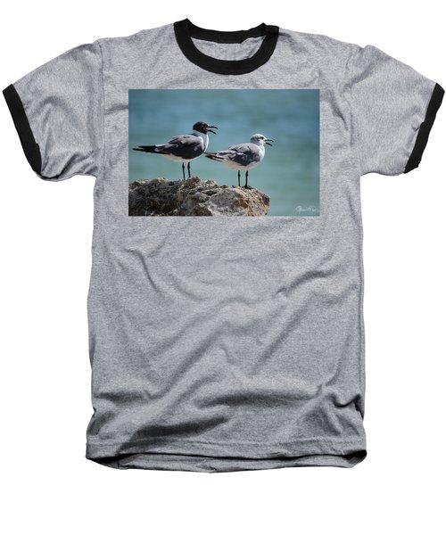 Gull Talk Baseball T-Shirt by Susan Molnar